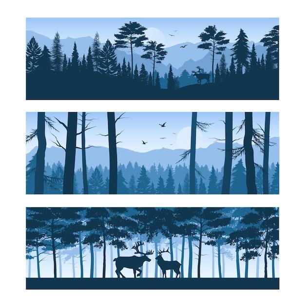 Набор горизонтальных баннеров реалистичные лесные пейзажи с оленями и птицами в небе изолированы Бесплатные векторы