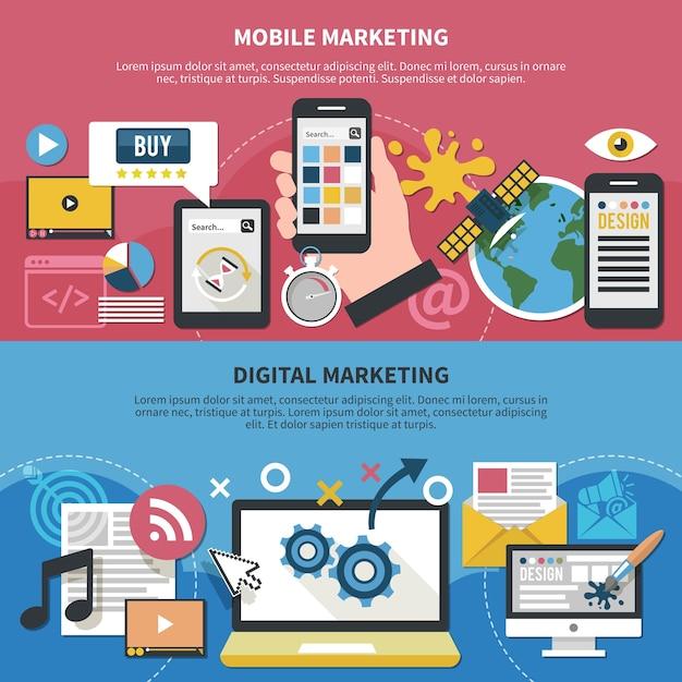 モバイルアプリ、グラフィックデザイン、衛星インターネット、デジタルマーケティングが分離された水平バナーのセット 無料ベクター