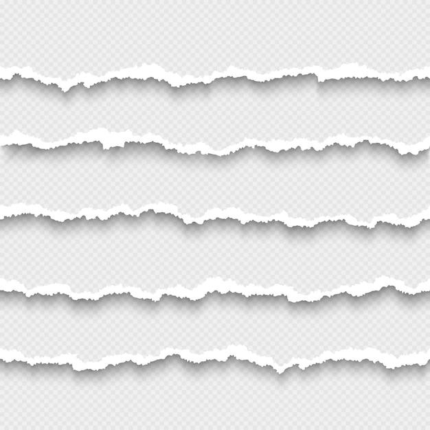 Набор горизонтальных бесшовные рваной белой бумаги с тенью Premium векторы