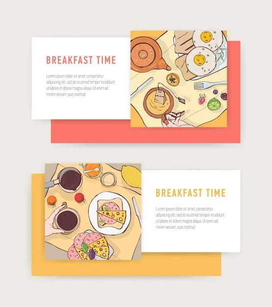 プレート-卵焼き、トースト、サンドイッチの上に横たわるおいしい朝食の食事と水平方向のwebバナーテンプレートのセット Premiumベクター