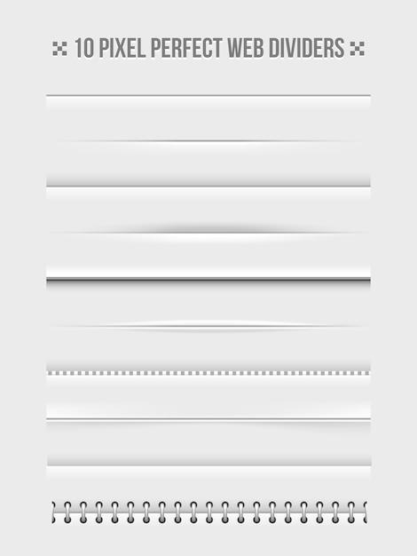 水平ウェブ仕切りのデザイン要素のセット。フレームと製本。ベクトルイラスト 無料ベクター