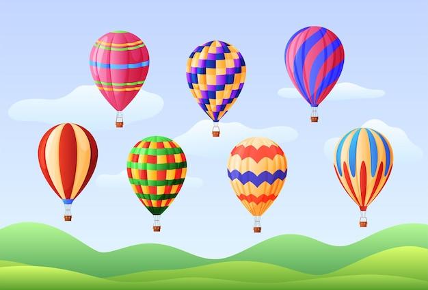 さまざまな色の熱気球のセット。航空学。ベクトルイラスト Premiumベクター