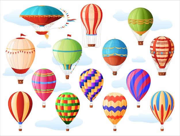 熱気球のセット、さまざまな色と形、ヴィンテージの熱気球。航空学。 Premiumベクター