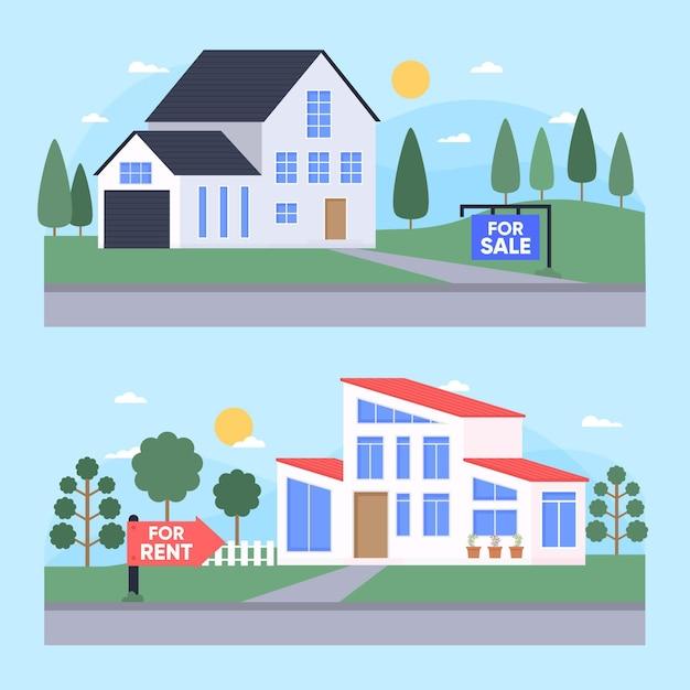 판매 또는 임대 주택 세트 무료 벡터