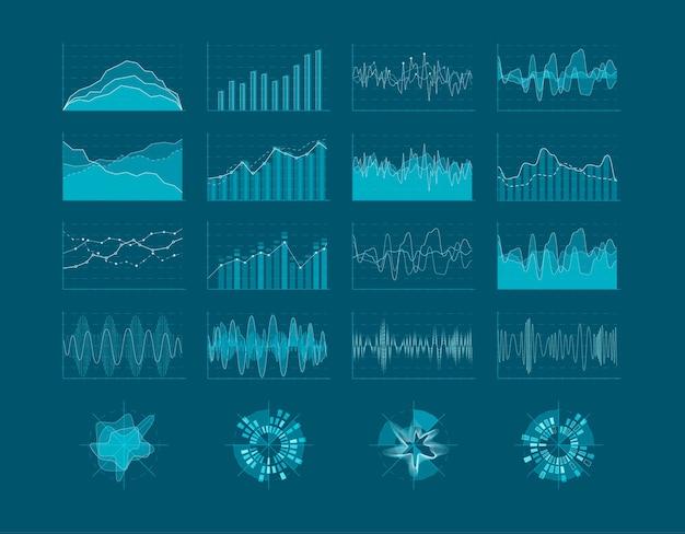 Hud要素のセット。未来的なユーザーインターフェイス。インフォグラフィックダイアグラムの統計要素。図 Premiumベクター
