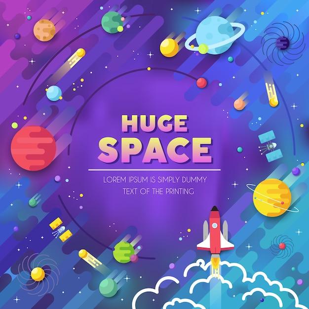 巨大な宇宙のインフォグラフィックのセット。で太陽系に飛んでくる宇宙ロケット。 Premiumベクター