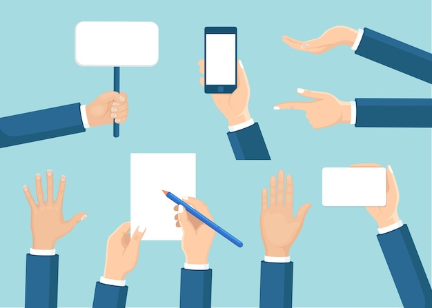 Набор человеческих рук держать плакат, телефон, документ, карандаш d на фоне. различные жесты. рука делового человека в разных положениях. Premium векторы