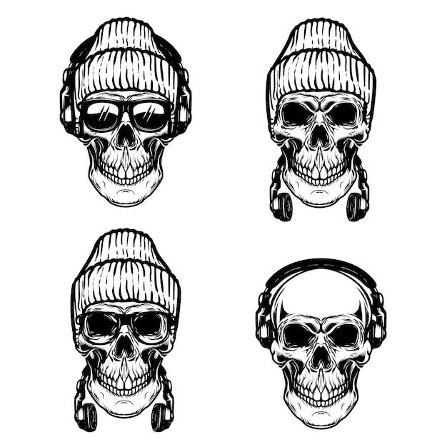 Набор человеческих черепов с наушниками. Premium векторы