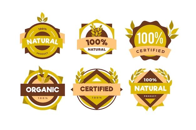 Набор 100% натуральных значков Бесплатные векторы