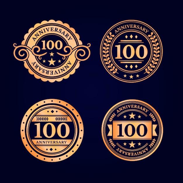 Набор этикеток юбилей сто лет Premium векторы