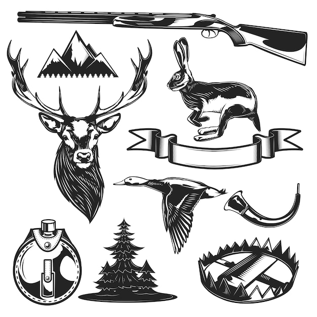 Набор элементов охоты Бесплатные векторы