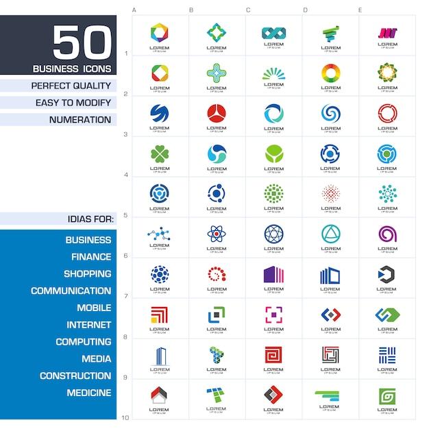 아이콘 요소 집합입니다. 사업 회사에 대한 추상 아이디어. 금융, 커뮤니케이션, 환경, 기술, 과학 및 의료 개념. 기업의 정체성 템플릿에 대한 그림. 프리미엄 벡터
