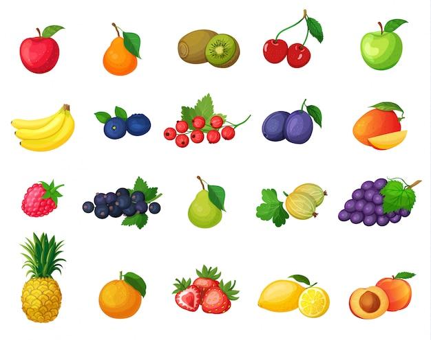 Набор иконок фруктов Premium векторы