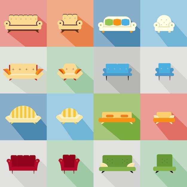 Набор иконок различных подходящих диванов и стульев Бесплатные векторы