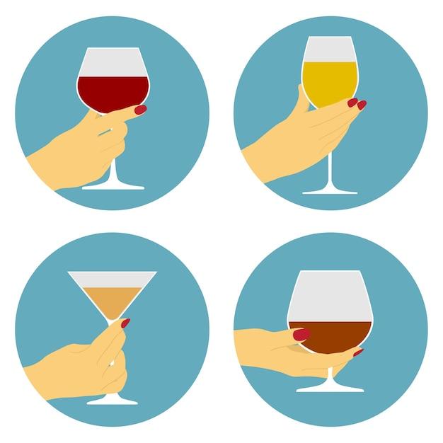 Набор иконок человеческой руки с бокалом вина, вечеринка, концепция празднования Premium векторы