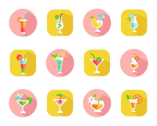 Набор иконок тропических коктейлей на красочных веб-кнопках с коктейлями в очках разной формы Бесплатные векторы