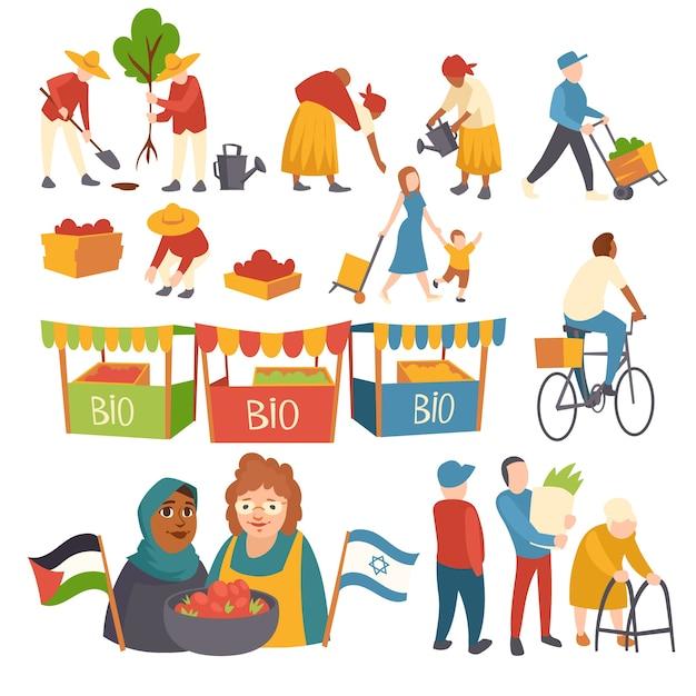 人々が木を植える、畑で作物を収穫する、子供を持つ母、パレスチナとイスラエルの旗を持っている作物を持つ女性、市場ブースのバイオ製品漫画フラットイラストのアイコンのセット 無料ベクター