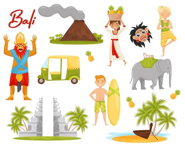 バリをテーマにしたアイコンのセットです。火山、歴史的記念碑、輸送、神話上の生き物 Premiumベクター