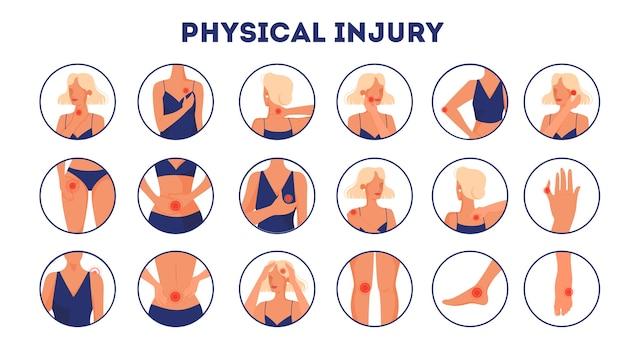 Набор иллюстраций телесных повреждений. мультяшном стиле Premium векторы