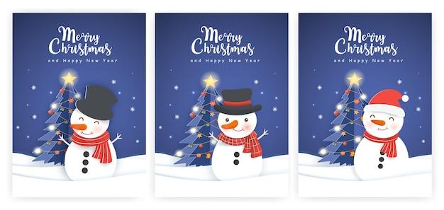 귀여운 눈사람 삽화와 새 해 인사 카드의 집합입니다. 프리미엄 벡터