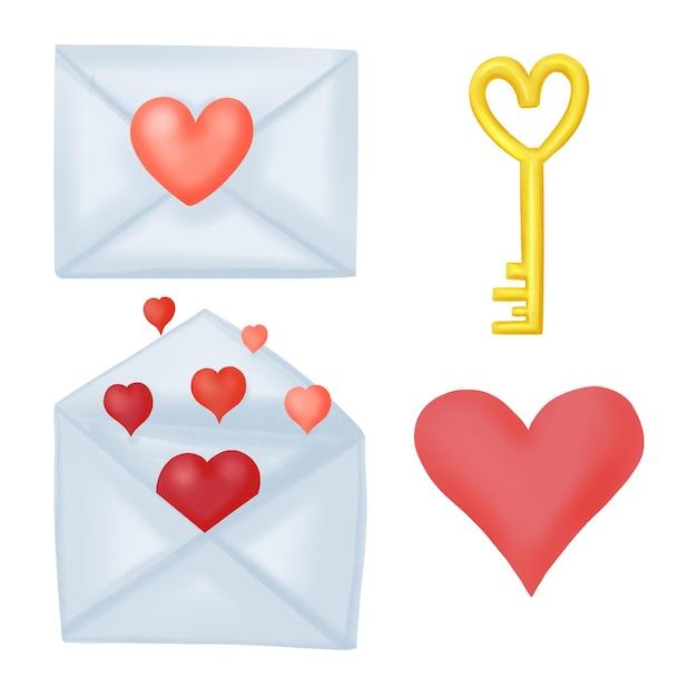 バレンタインデー、手紙、鍵と鍵、ハートのイラストのセット Premiumベクター