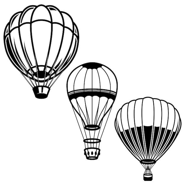 気球のイラストのセットです。ロゴ、ラベル、エンブレム、記号の要素。画像 Premiumベクター