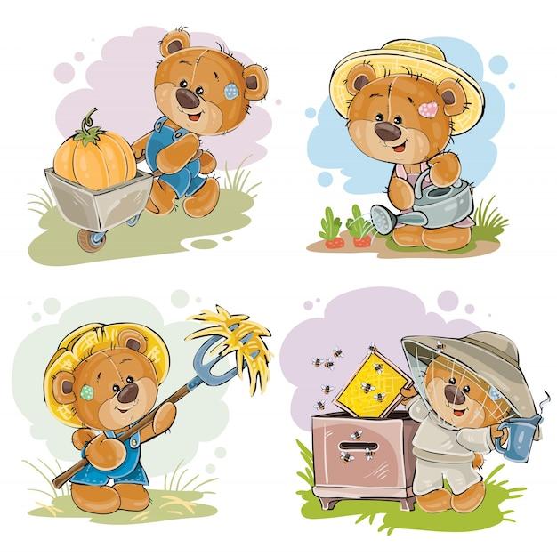Набор иллюстраций вектора пчеловода плюшевого медведя, фермера. Бесплатные векторы