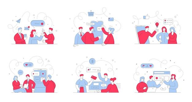 웹 사이트 및 소셜 미디어에서 온라인 쇼핑을하는 동안 남성 및 여성 고객과 소통하는 온라인 비서가있는 삽화 세트입니다. 스타일 일러스트, 얇은 라인 아트 프리미엄 벡터