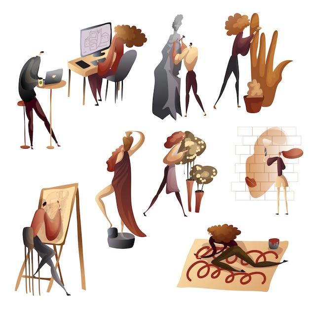 創造的なプロセスの人々の画像のセット。図。 Premiumベクター