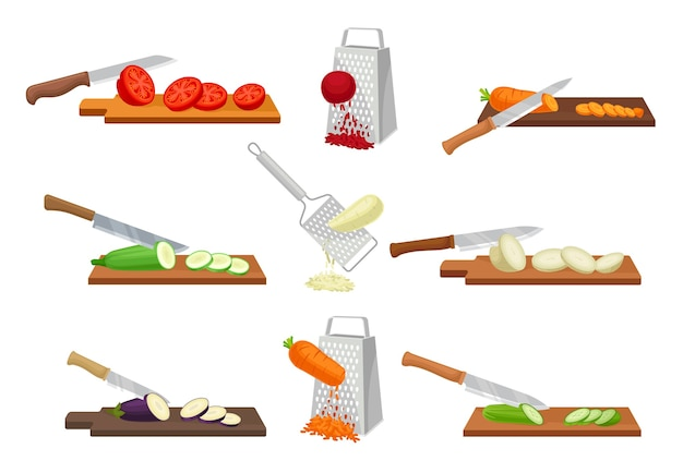 Набор изображений нарезки овощей Premium векторы