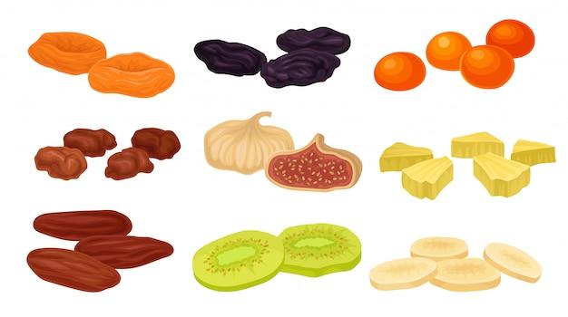 さまざまなドライフルーツの画像のセット。プルーン、イチジク、ドライアプリコット、アプリコット、キウイ。 Premiumベクター