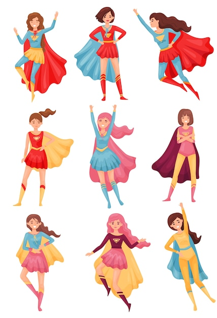 赤と青のスーパーヒーローの衣装の女性の画像のセット。白い背景のイラスト。 Premiumベクター