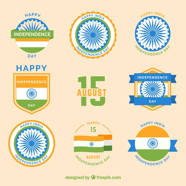 Set of india independence day badges