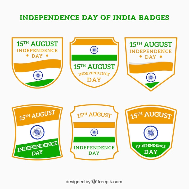 Set of india independence day retro badges