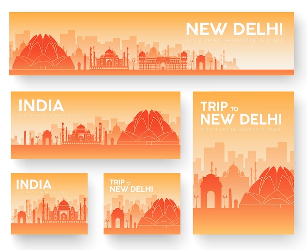 インドの風景の国の飾り旅行ツアーのセット。伝統文化、ポスター、抽象、要素。 Premiumベクター