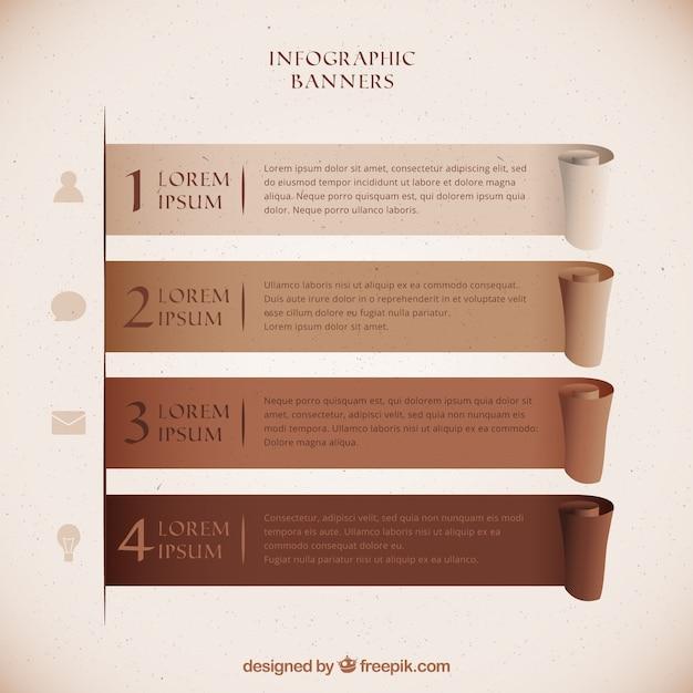 갈색 톤의 infographic 배너 세트 무료 벡터