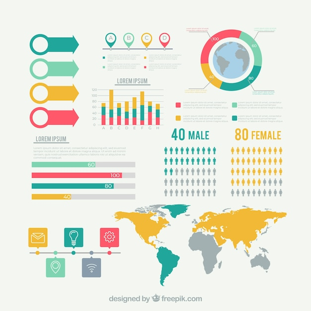 Set of infographic elements in flat style Free Vector