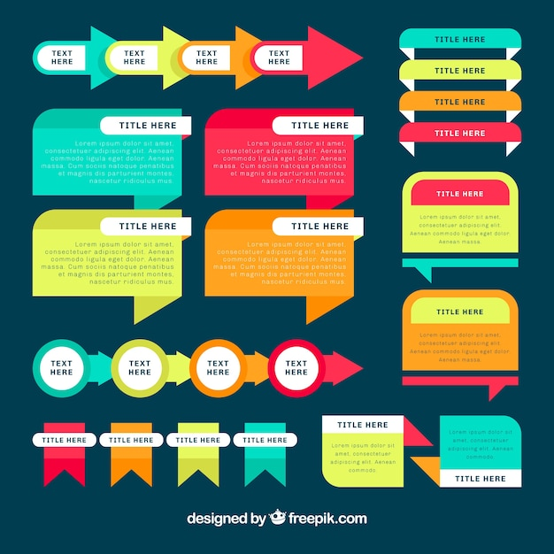 Set of infographic elements with different colors Free Vector