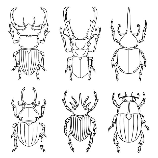 白い背景の上の昆虫のイラストのセットです。図 Premiumベクター