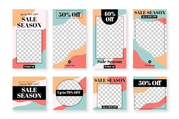 販売のためのinstagramの投稿とストーリーのセット Premiumベクター
