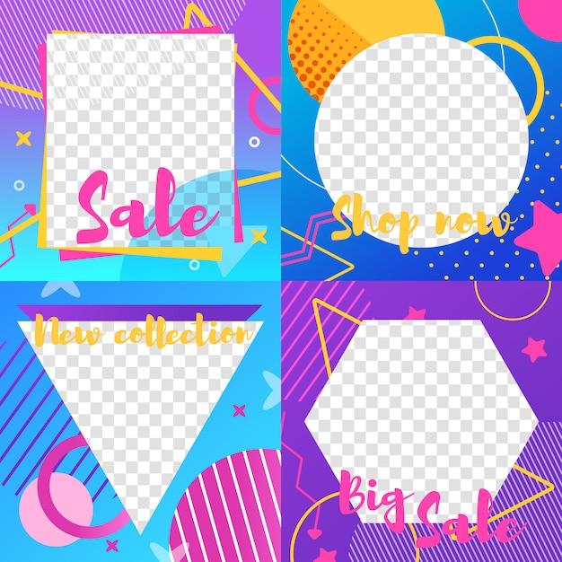 販売およびニュース情報を含むinstagramストーリーのセット Premiumベクター
