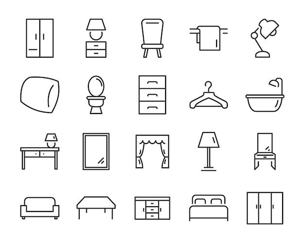 Набор интерьерных иконок, таких как мебель, стол, диван, унитаз Premium векторы