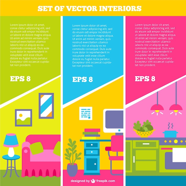 Set of interiors Free Vector