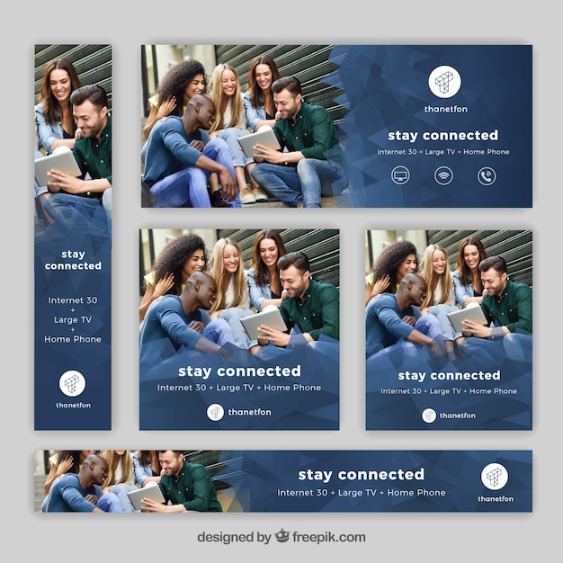 Set of internet and telephony banners Free Vector