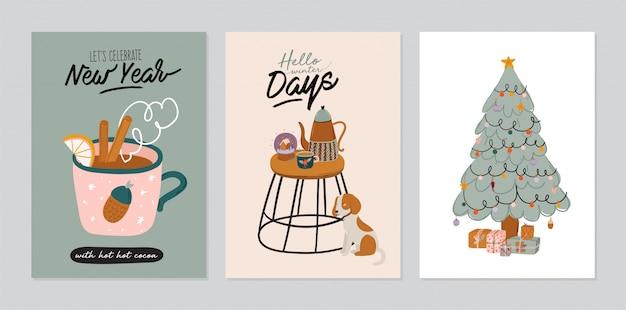 Набор пригласительного билета - скандинавский интерьер с домашними украшениями. уютный зимний курортный сезон. симпатичные иллюстрации и рождественская типография в стиле хюгге. Premium векторы