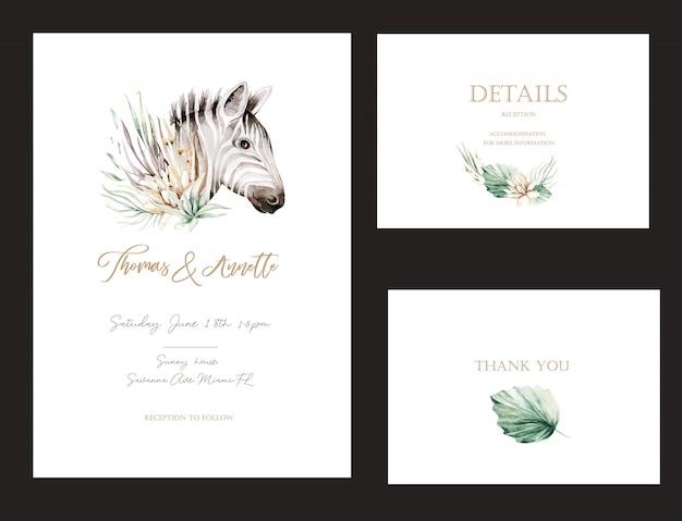 수채화 꽃 사바나 야생 동물 얼룩말과 금 요소와 초대 카드의 집합입니다. 웨딩 부케 컬렉션 프리미엄 벡터