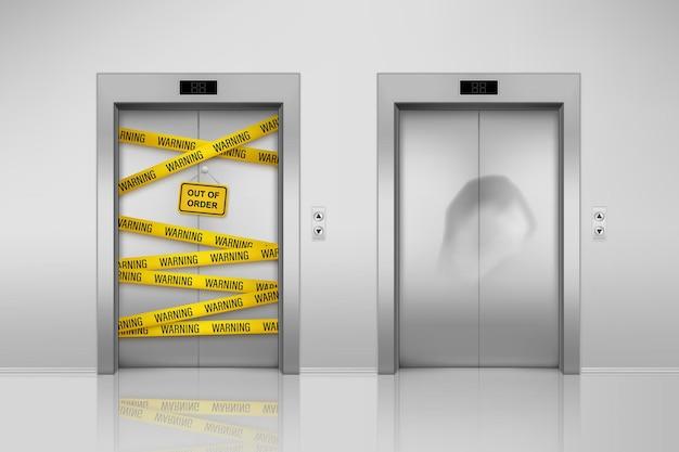 닫힌 문 격리 된 깨진 된 엘리베이터의 집합입니다. 덕트 테이프와 움푹 들어간 문으로 유지 보수를 들어 올립니다. 현실적인 강철 실내 운송이 고장났습니다. 사무실 또는 건물, 호텔 홀 및 게이트, 출입구 프리미엄 벡터