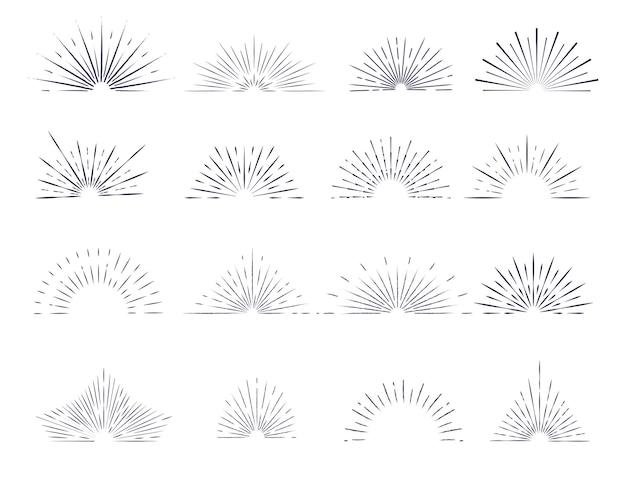 白い背景の上のロゴのデザイン要素を持つ孤立した輪郭のサンバースト光線のセットです。 Premiumベクター