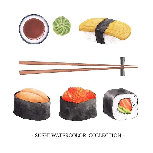 水彩寿司の孤立した要素のセット 無料ベクター