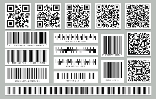 分離された長方形のバーコードと正方形のqrコードのセット。 qrcodeとバーコードでラベルまたはステッカー。 Premiumベクター